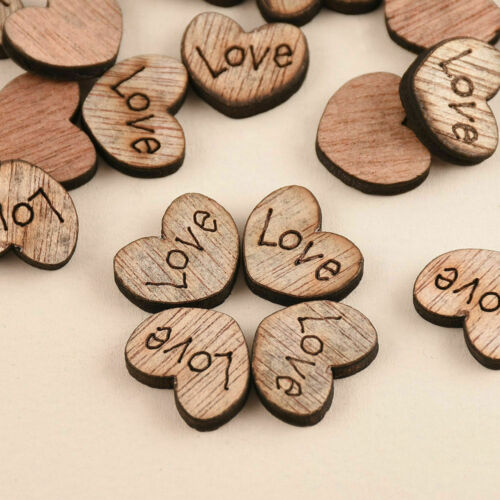 100pcs Rustic Wooden Love Heart Christmas Table Scatter Decoration Wood Crafts