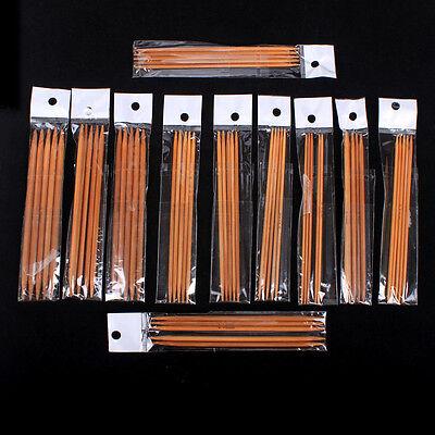 New 11 sizes 5 Double Point Carbonized Knitting Bamboo Needles 5 set