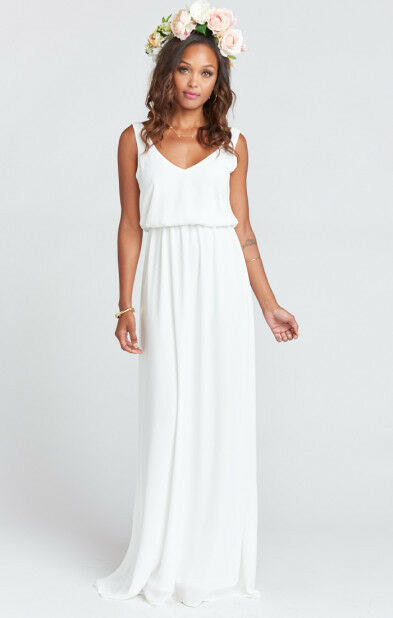 Show Me Your Mumu Kendall Soft V-Back Gown in Ivory Crisp, Größe L