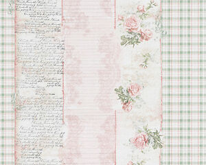 Image Is Loading Shabby Chic Vintage Pink Rose Green Check Stripe