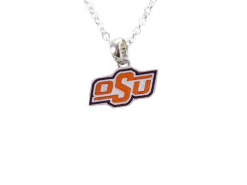 Oklahoma State Cowboys Iridescent Orange Black Silver Charm Necklace Jewelry OSU