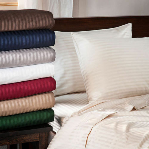 1000 TC Egyptian Cotton High Deep Wall Bedding Items Short Queen Size Striped