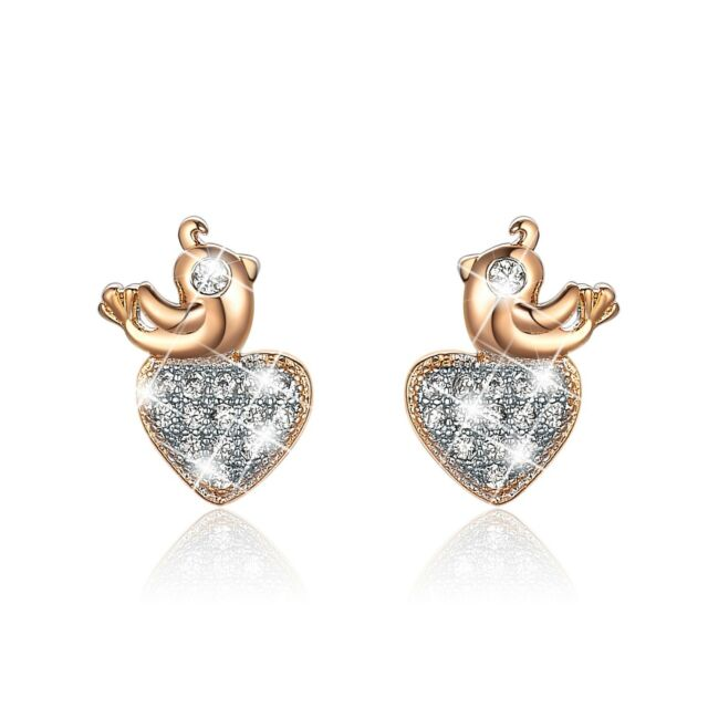 18K WHITE YELLOW GOLD GF CLEAR CRYSTAL HEART STUD EARRINGS CUTE BIRD