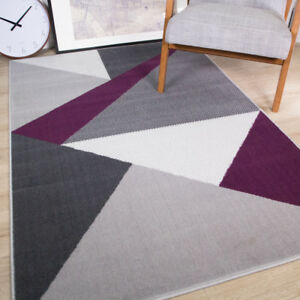 Details About Modern Geometric Purple Grey Patchwork Rug Soft Warm Non Shed Living Room Rugs