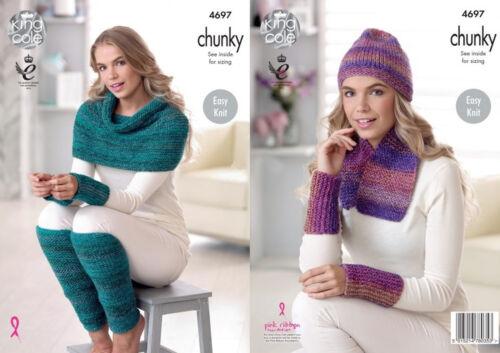King Cole Ladies Chunky Knitting Pattern Scarf Hat Wrap Leg /& Wrist Warmers 4697