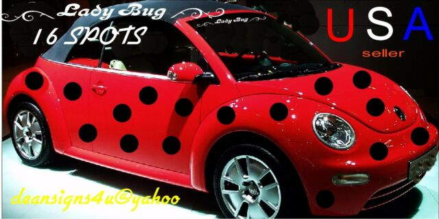 Red Car Black Spots Dots 16 Set 6 Inch Ladybug Mini Prius Vw Pt Bug Lady