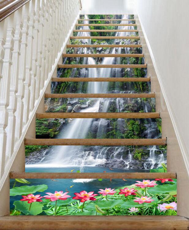 3D Stone waterfalls Stair Risers Decoration Photo Mural Vinyl Decal Wallpaper AU