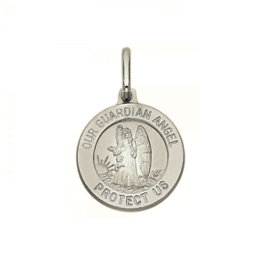 14K Solid White Gold Guardian Angel Medal Pendant Round Polished Necklace Charm