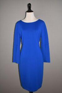 ST-JOHN-1295-Slit-Bell-Sleeve-Wool-Sheath-Dress-in-Blue-Size-8