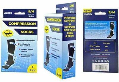 Femmes Homme Unisexe Vol Chaussettes Safe Voyage DVT Compression Hautes UK 9-12