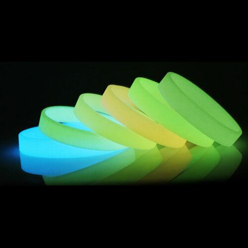 Colorido Silicona Goma Muñequera Brazalete resplandor luminoso en Oscuro Brazalete Regalo