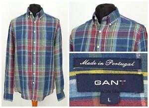 Mens-GANT-The-Tartan-Linen-Shirt-Multicolor-Long-Sleeve-Check-Size-L