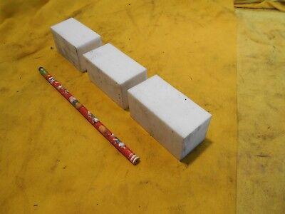 """3 pc LOT of WHITE TEFLON SQUARE BAR plastic flat stock 1 1//4/"""" x 1 1//4/"""" x 2 1//2/"""""""