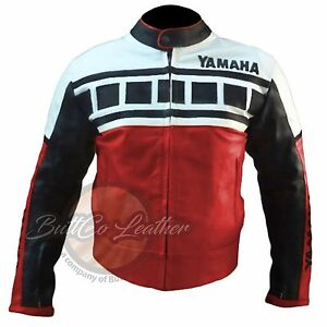YAMAHA-6728-rouge-Moto-Motard-Cuir-de-vachette-veritable-protection-veste