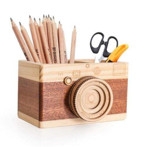 Creative Camera Wooden Pencil Holder Home Desktop Stationary Makeup Organizer