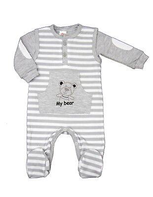 2-tlg. Baby Set Strampler Mit Shirt Grau Neu Gr.56,62,68,74