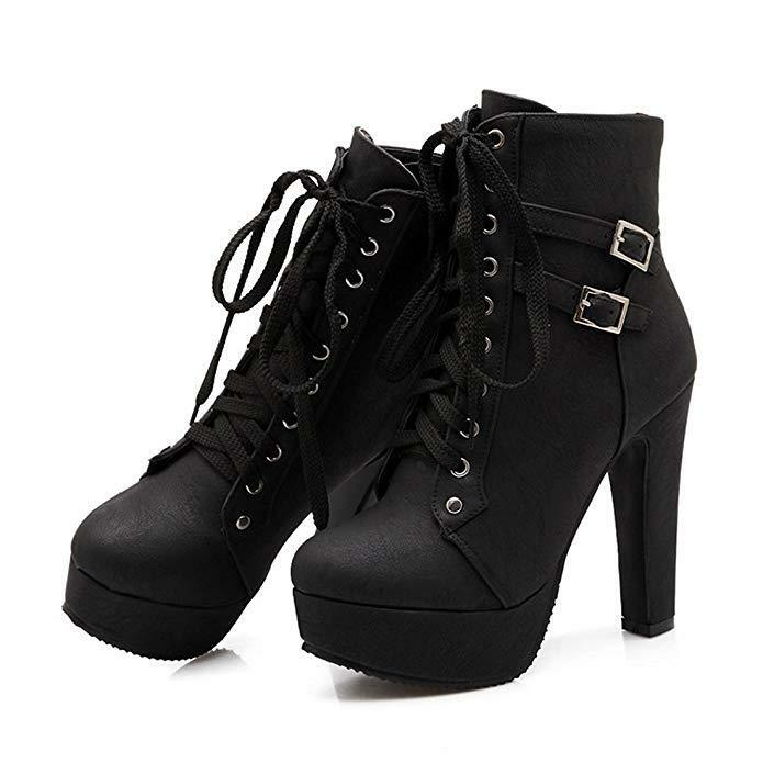 Susanny donna Autumn Round Toe Lace Up Ankle Buckle Chunky High Heel Platform