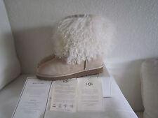 Ugg Australia Sheepskin Mongolian Hair Fur Cuff boots Women's Sand  #1875 Sz 11