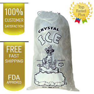 Image Is Loading 10 Lb Lbs Commercial Ice Bag Bags Drawstring