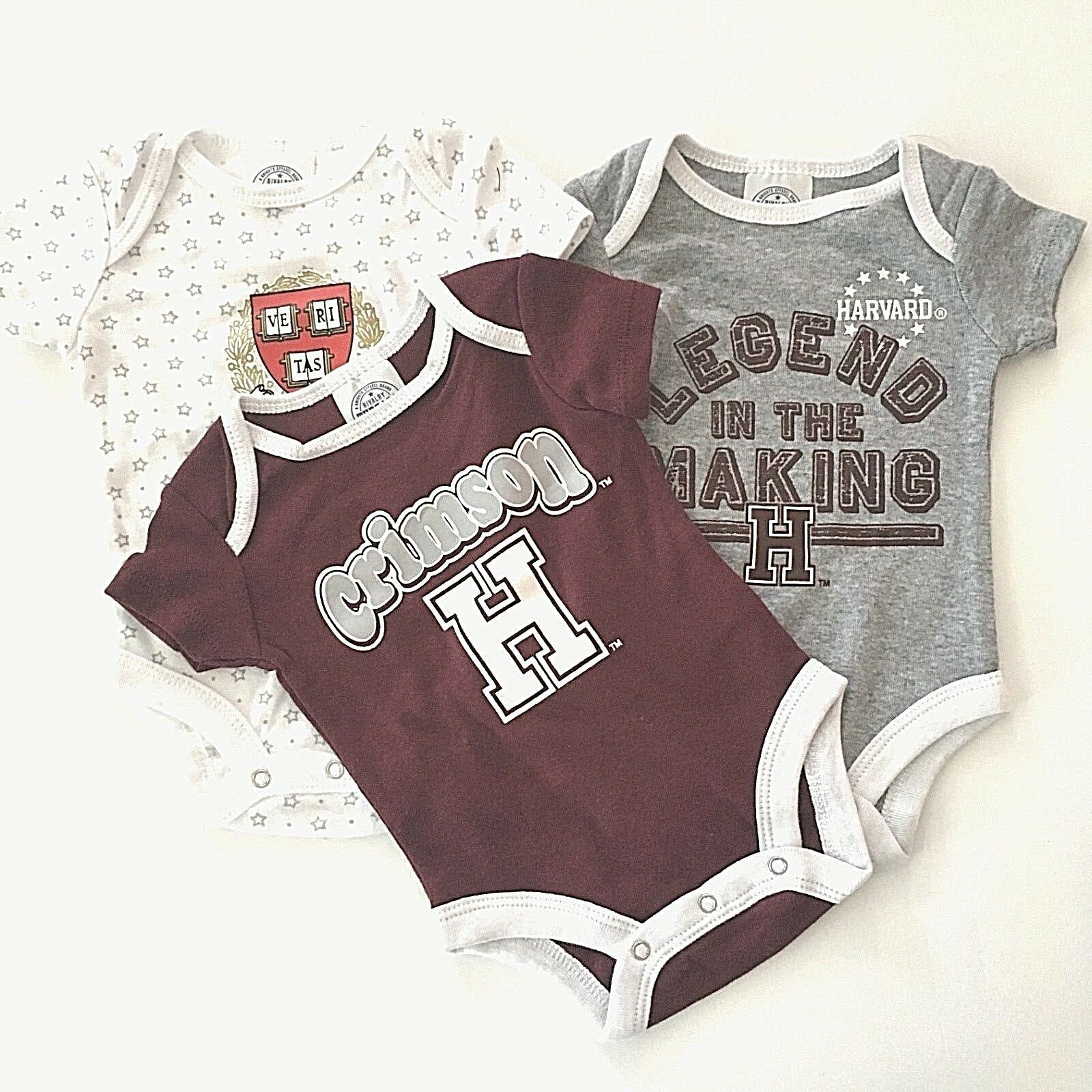 NEW NCAA Harvard Crimson Baby Bodysuit one-piece 3-pack