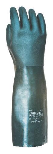 lange dicke Gummihandschuhe PVC Schutzhandschuhe grün 45 cm lang EN 388 Portwest