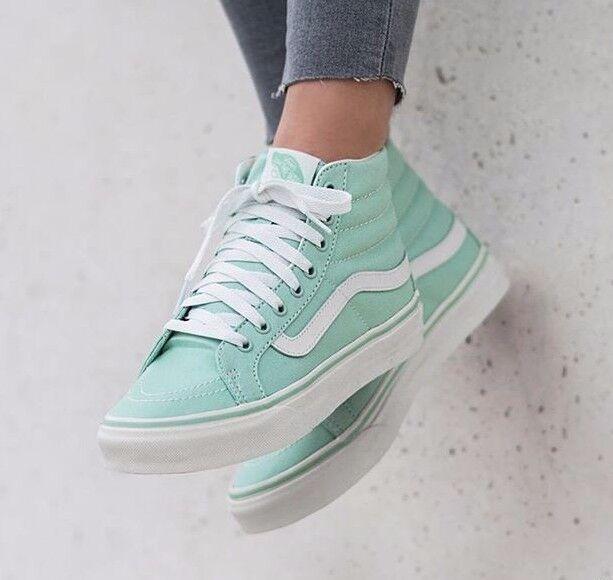 VANS Sk8 Hi Slim Gossamer Green/Blanc de Blanc Skate Shoes WOMEN'S Size 7
