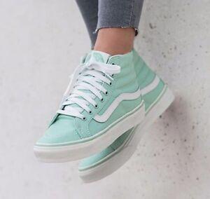 038e35f52c VANS Sk8 Hi Slim Gossamer Green Blanc de Blanc Skate Shoes WOMEN S ...