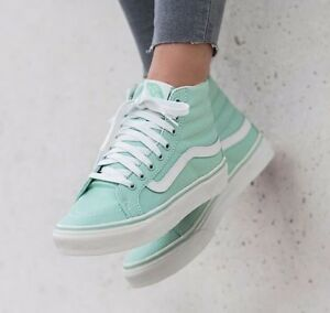 c472339aedad83 VANS Sk8 Hi Slim Gossamer Green Blanc de Blanc Skate Shoes WOMEN S ...
