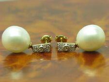 14kt 585 GIALLO ORO orecchini a bottone con 0,10ct brillanti e Akoya GUARNIZIONE con perle 6,7g