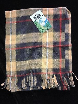 mens NEW NWT brown black PLAID WINTER SCARF one size FLEECE RUGGED FRONTIER WARM