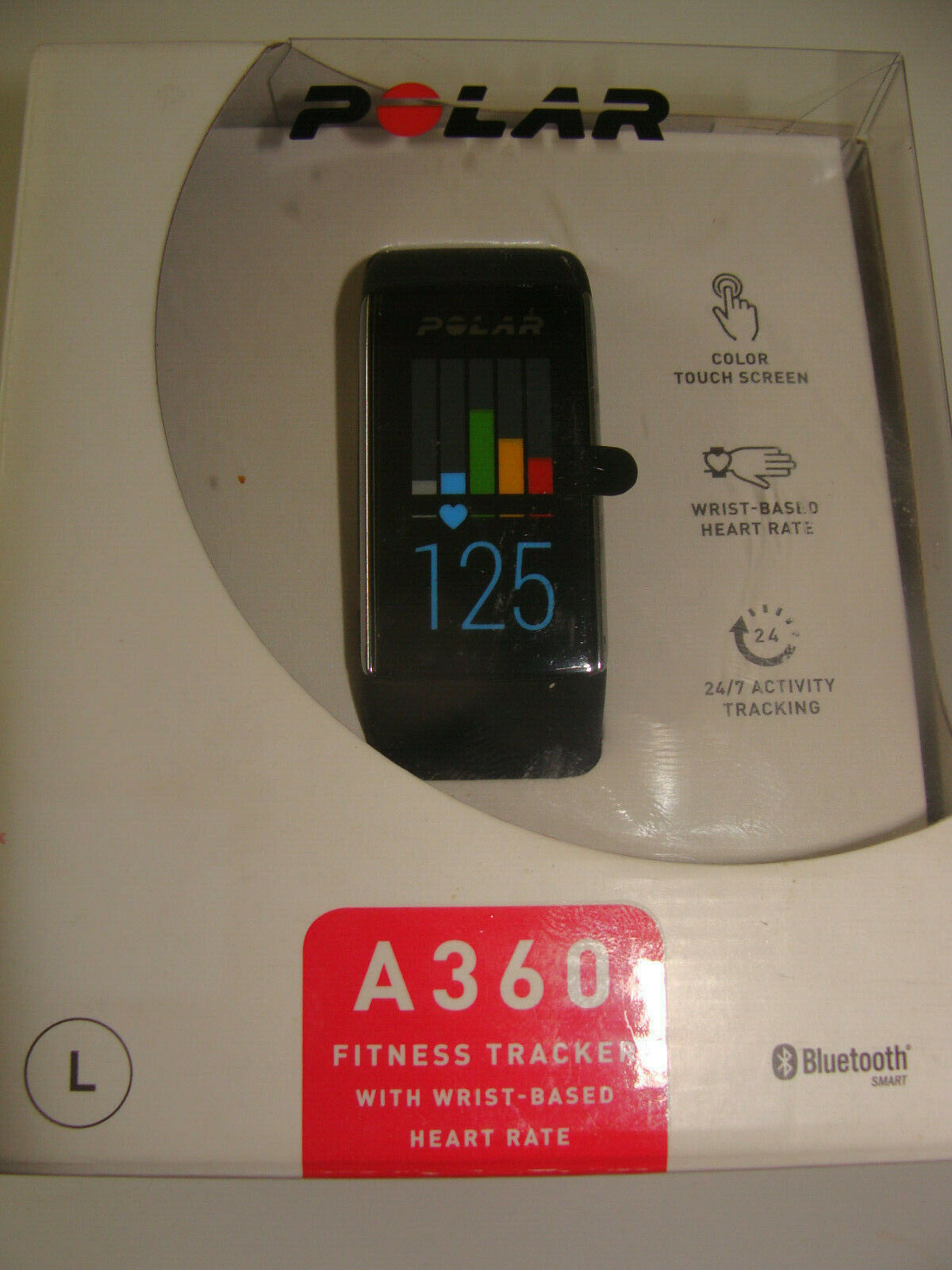 POLAR A360 Fitness Tracker Heart Rate Monitor - Black Size Large - NEW