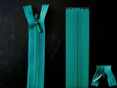 """Z7 Quality YKK 9/"""" 23cm Peacock Green Concealed Invisible Closed End Zip"""