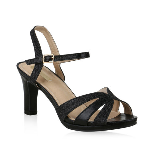 Damen Abiball Riemchensandaletten Glitzer Party Hochzeit High Heel 825620 Schuhe