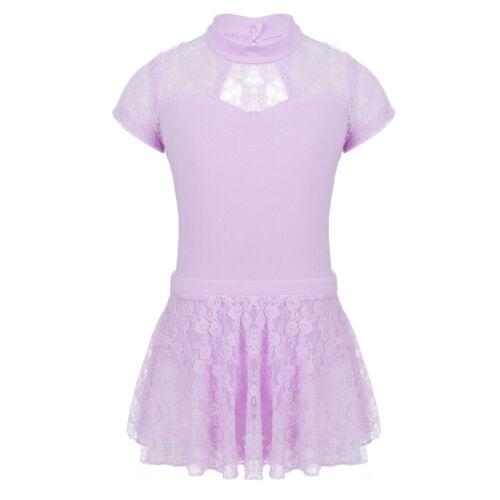 Girls Dance Leotard Stretch Bodysuit Ballet Training Dress Tops with Tutu Skirt