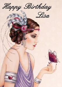 personalised birthday card Art Deco Lady any name//age//relation.