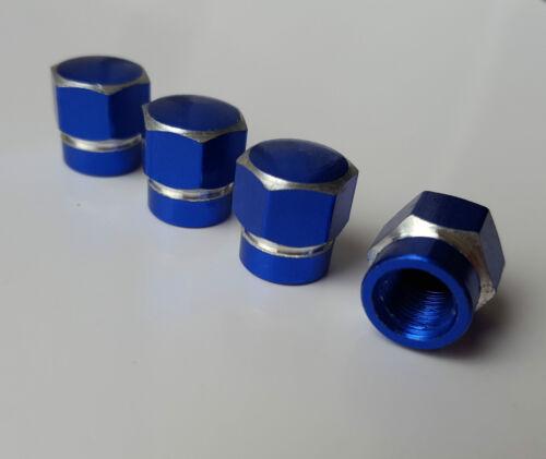 Blue BOLT Hex Alloy Metal Dust Valve Caps for Nissan Micra CC Primera Skyline