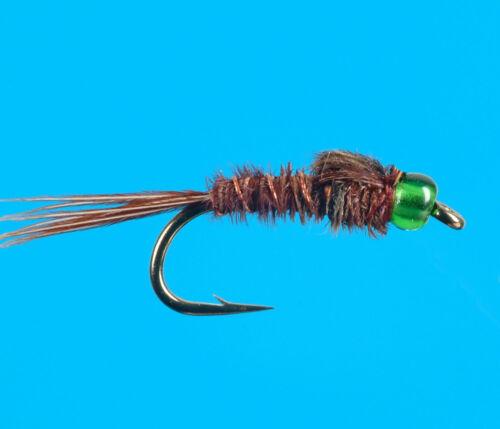 6 pcs size 18 Glass Bead Pheasant Tail Green