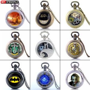 Vintage-Alice-Batman-Quartz-Pocket-Watch-Necklace-Pendant-Chain-Retro-Antique