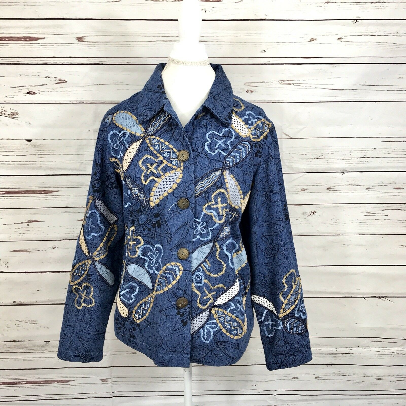 Coldwater creek blazer bluee denim butterfly theme lined career size M