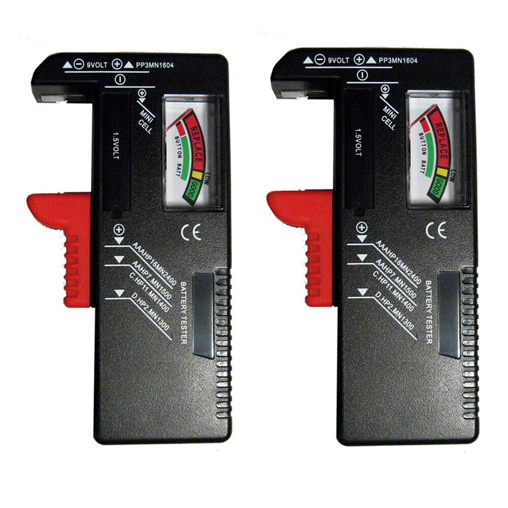 2 X Battery Voltage Tester AA/AAA/C/D/9V Universal Button Cell Load Power Check