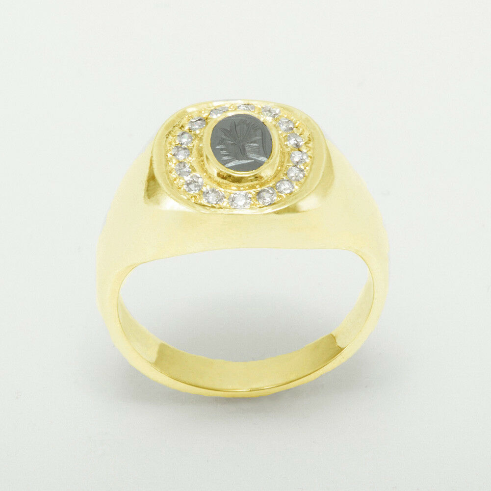 650f7106b8716 Natural gold Yellow 10k Hematite Ring Signet Mens Diamond & Intaglio ...