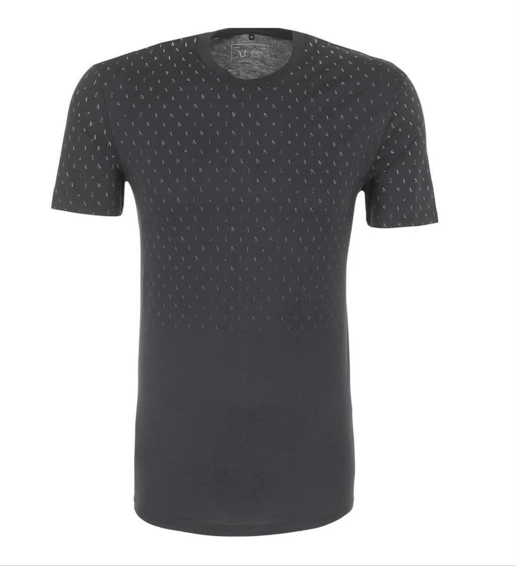 ARMANI JEANS UOMO NERO tutto lettera stampa del logo T-Shirt Tutte Le Taglie Nuovo Con Etichetta