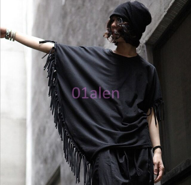 Mens Chic Korea Loose Tassel batwing-sleeved Cotton Pullover T-shirts Dress Tees