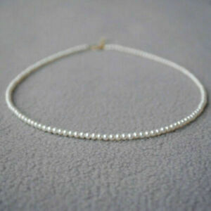 """mini AAA 2-3mm White Akoya pearl Necklace 18/"""" 14K Gold Magnet clasp"""