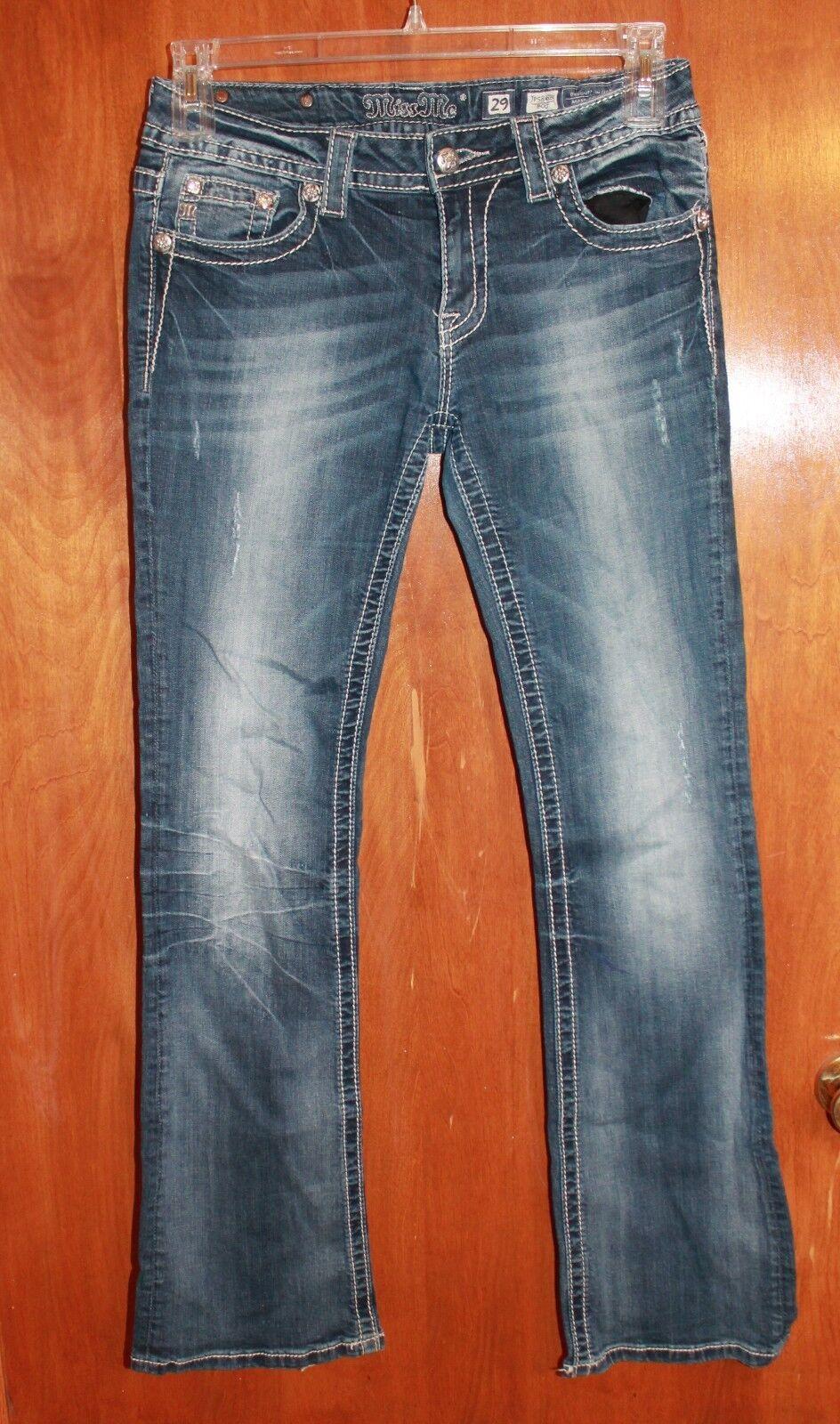 MISS ME Size 29x32 BOOT JEANS (JP5848BV w  Bling & light wear on heels) EUC