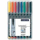 Staedtler 318 Wp8 Lumocolor Universal Permanent Fine Pens - Assorted Colours