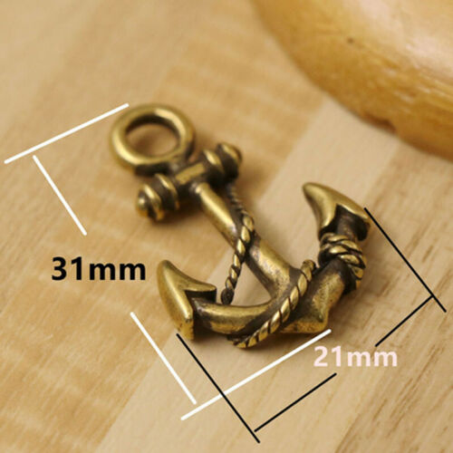 2pcs Solid Brass Anchor Keychains Keyrings Key Chain Pendant Necklace Pendant