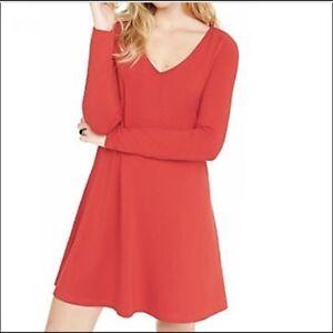 2444b6e185 EXPRESS Small RED V-NECK LONG SLEEVE TRAPEZE DRESS (S 4-6) a-line | eBay