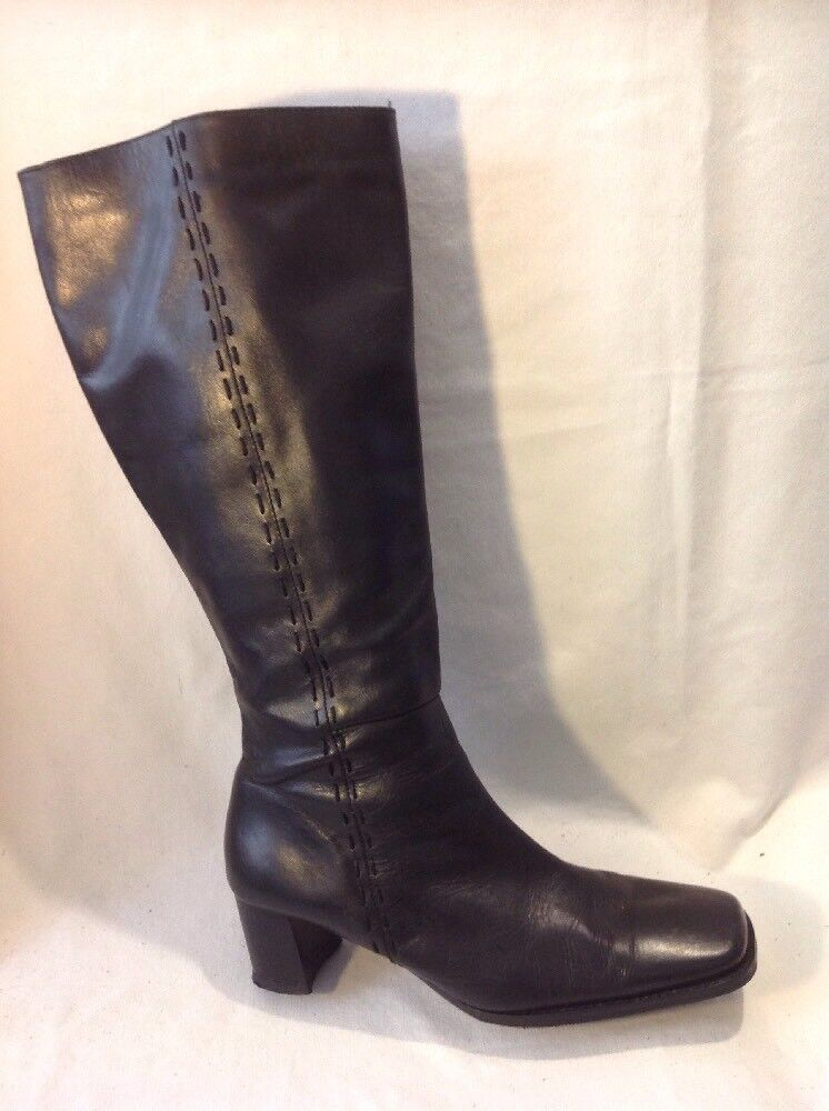 Cats Eyes Black Knee High Leather Boots Size 5