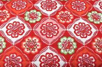 RED GREEN PINK FLORAL FLOWERS FLANNEL FABRIC 100% COTTON SEWING QUILTING BTY